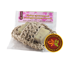 Вязаная натуральная мочалка с мылом «Чайная роза» КНК